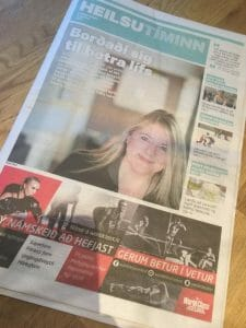 Sólveig Sigurðardóttir on the cover of a newspaper
